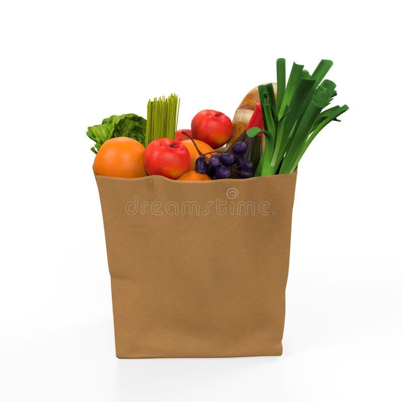 Τσάντα παντοπωλείων με τα τρόφιμα διανυσματική απεικόνιση