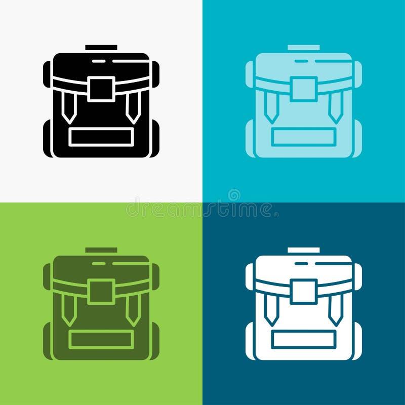 τσάντα, στρατοπέδευση, φερμουάρ, πεζοπορία, εικονίδιο αποσκευών πέρα από το διάφορο υπόβαθρο glyph σχέδιο ύφους, που σχεδιάζεται  ελεύθερη απεικόνιση δικαιώματος