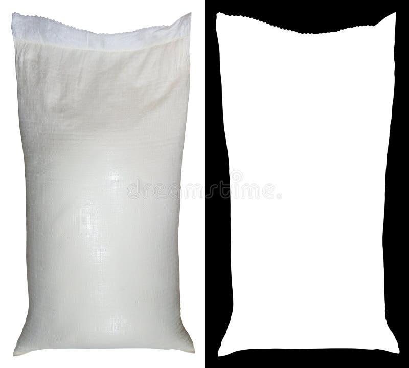 Τσάντα του αλευριού από το πολυπροπυλένιο, 50 λίβρες, με το άλφα κανάλι στοκ φωτογραφία
