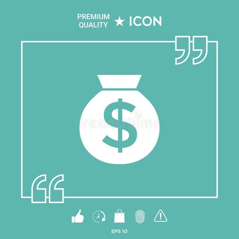 Τσάντα του εικονιδίου χρημάτων με το σύμβολο δολαρίων απεικόνιση αποθεμάτων