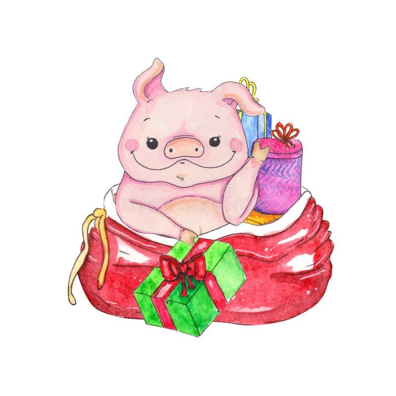 Τσάντα των παιχνιδιών με τα στοιχεία Χριστουγέννων απεικόνιση αποθεμάτων