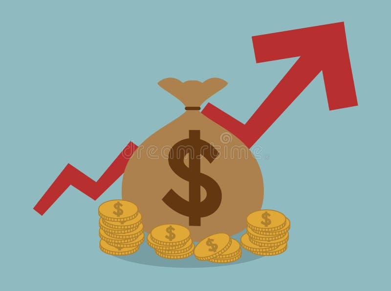 Τσάντα χρημάτων με τη θετική επιχειρησιακή έννοια γραφικών παραστάσεων επάνω απεικόνιση αποθεμάτων
