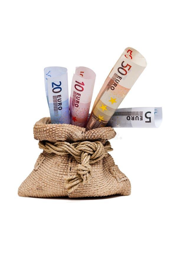 Τσάντα χρημάτων με το ευρώ, ένα δώρο. στοκ φωτογραφία με δικαίωμα ελεύθερης χρήσης