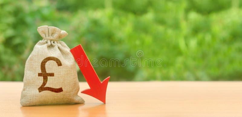 Τσάντα χρημάτων με το σύμβολο λιρών αγγλίας και το κόκκινο βέλος κάτω υποτίμηση της λίβρας, πτώση οικονομίας και η διακοπή οικονο στοκ φωτογραφία