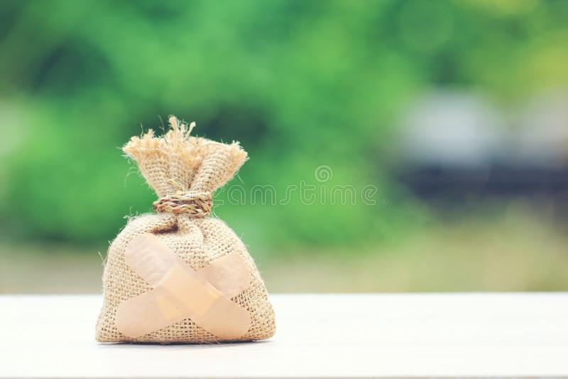 Τσάντα χρημάτων που συνδέεται με το ασβεστοκονίαμα στο φυσικό πράσινο υπόβαθρο, Sa στοκ φωτογραφίες με δικαίωμα ελεύθερης χρήσης