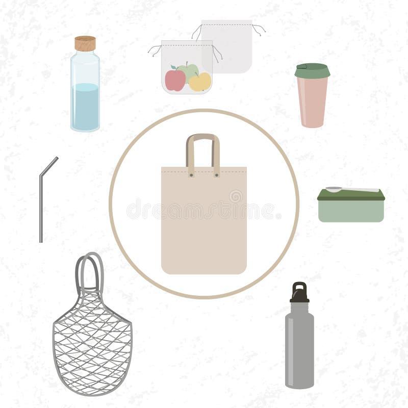 Τσάντα Eco και επαναχρησιμοποιήσιμα πράγματα απεικόνιση αποθεμάτων