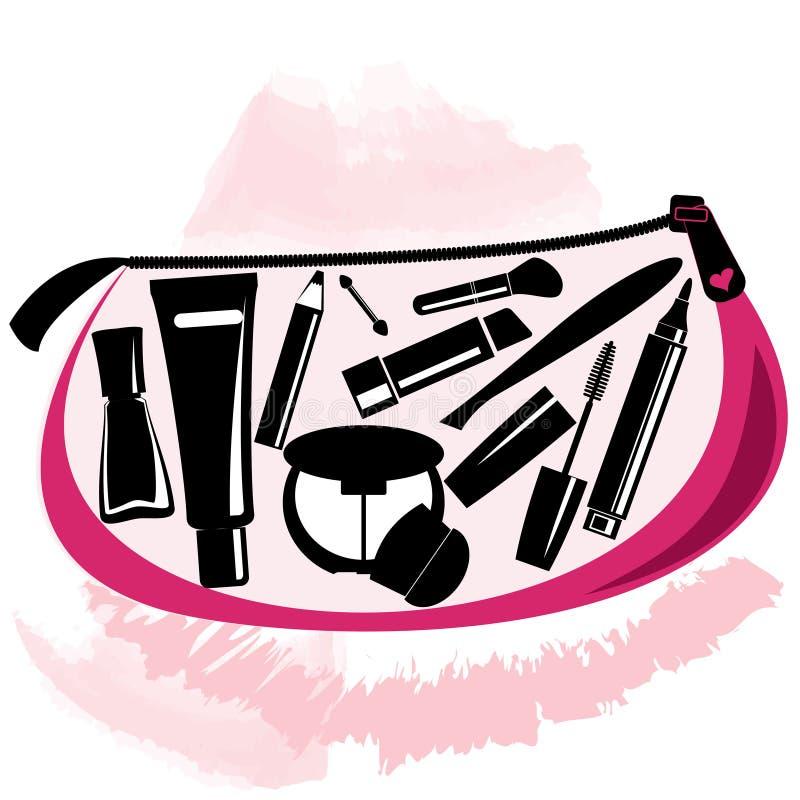 Τσάντα Makeup με τα εργαλεία beautician μέσα ελεύθερη απεικόνιση δικαιώματος
