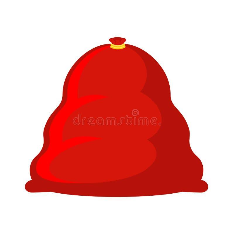 Τσάντα Santa μεγάλη Τεράστιος κόκκινος σάκος με τα δώρα Χριστούγεννα sackful διανυσματική απεικόνιση