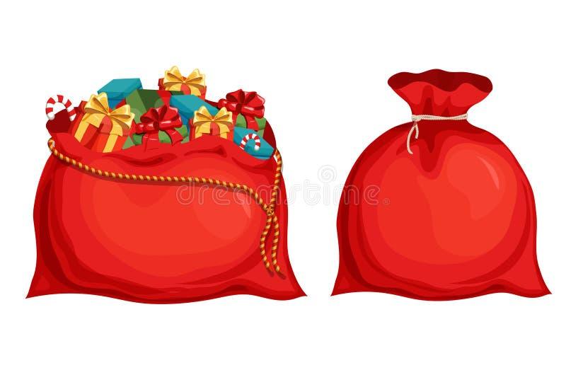 Τσάντα Santas Χριστουγέννων διανυσματική απεικόνιση