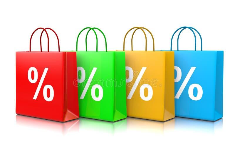 Τσάντες αγορών έκπτωσης διανυσματική απεικόνιση