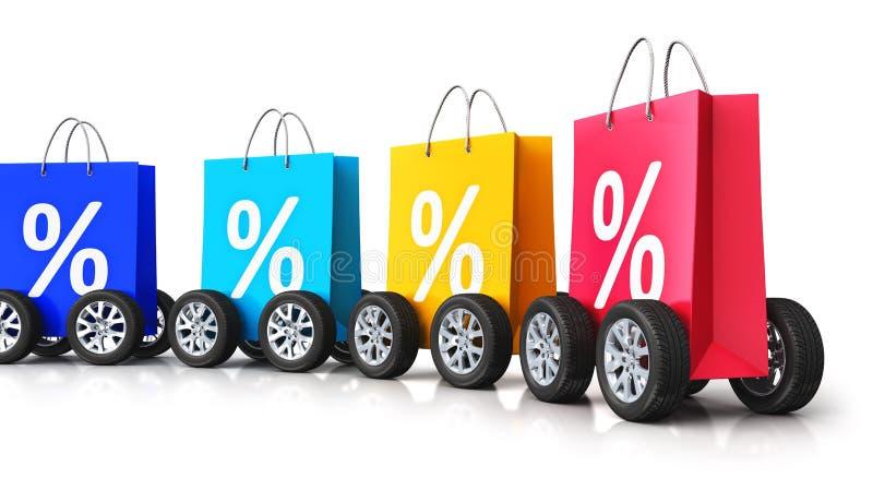 Τσάντες αγορών εγγράφου χρώματος με τα σύμβολα τοις εκατό και τις ρόδες αυτοκινήτων διανυσματική απεικόνιση
