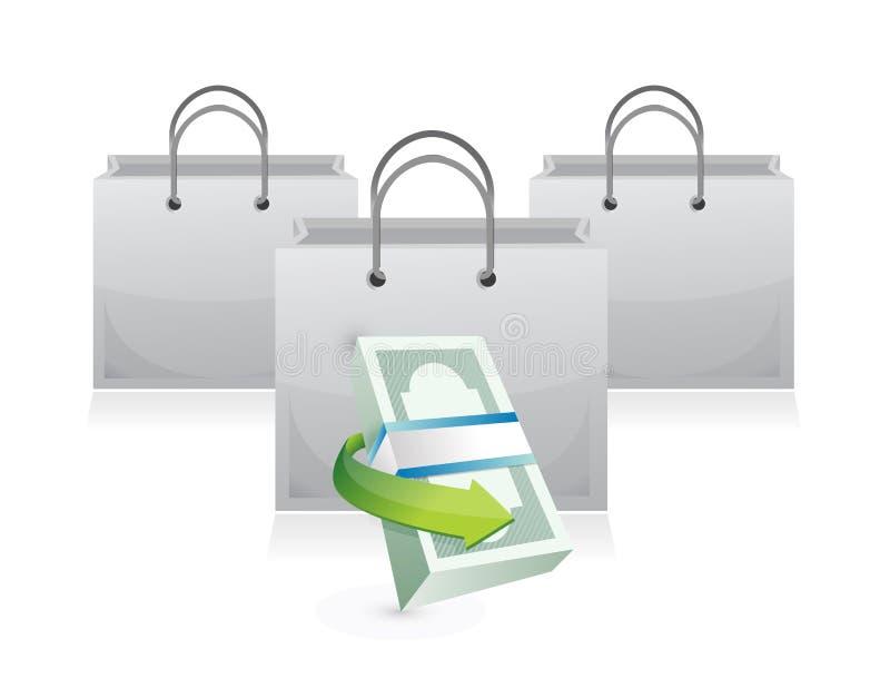 Τσάντες αγορών και σωρός χρημάτων απεικόνιση αποθεμάτων