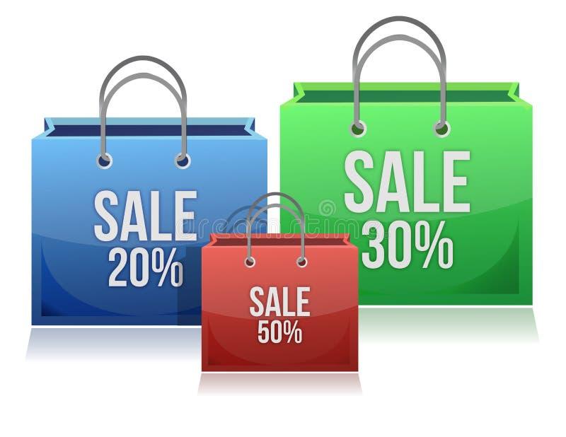 Τσάντες αγορών με τις εκπτώσεις διανυσματική απεικόνιση