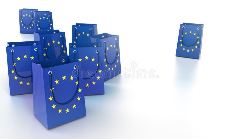 Τσάντες αγορών στην Ευρώπη διανυσματική απεικόνιση