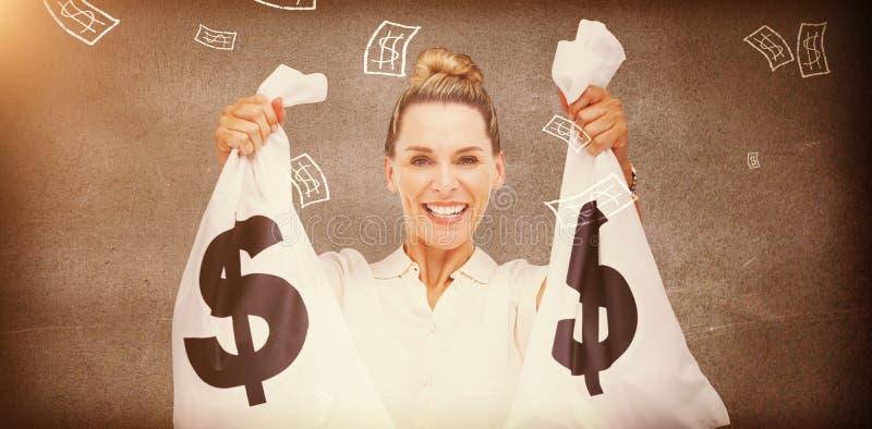 Τσάντες μετρητών εκμετάλλευσης επιχειρηματιών στοκ φωτογραφίες