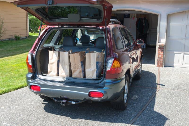 Τσάντες παντοπωλείων στο πίσω μέρος του αυτοκινήτου στοκ εικόνα με δικαίωμα ελεύθερης χρήσης