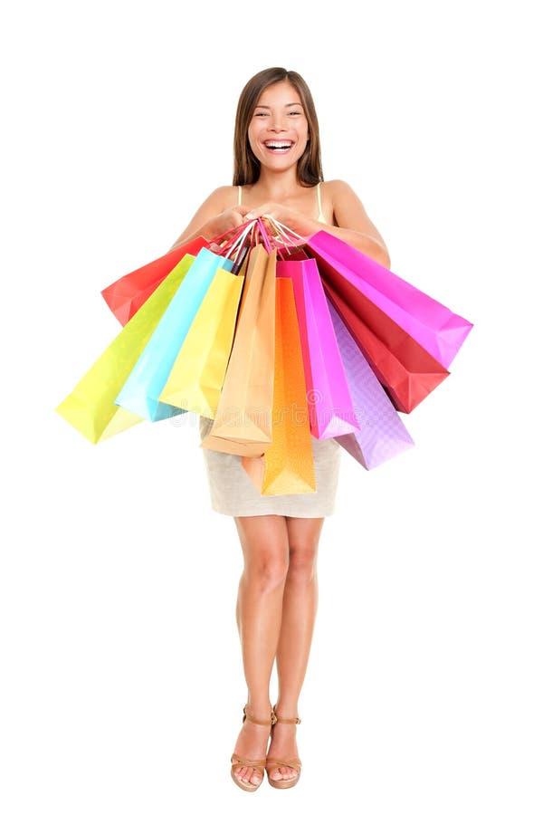 τσάντες που κρατούν την ψωνίζοντας γυναίκα αγοραστών στοκ φωτογραφία με δικαίωμα ελεύθερης χρήσης