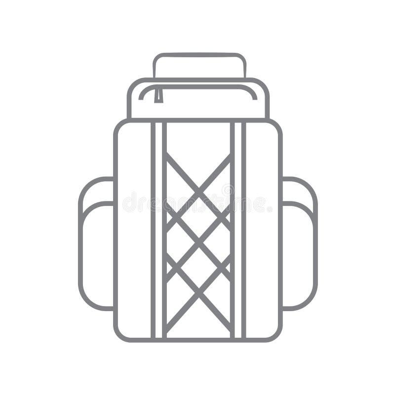 Τσάντες σακιδίων πλάτης ή πεζοπορώ τουριστών, γραμμικό εικονίδιο σακιδίων επίσης corel σύρετε το διάνυσμα απεικόνισης ελεύθερη απεικόνιση δικαιώματος