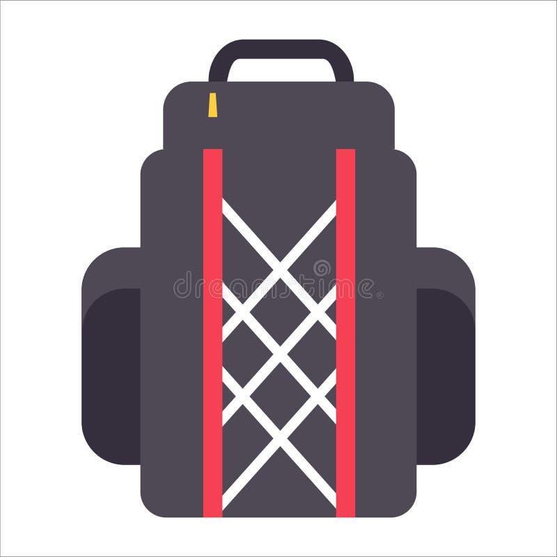 Τσάντες σακιδίων πλάτης ή πεζοπορώ τουριστών, εικονίδιο σακιδίων επίσης corel σύρετε το διάνυσμα απεικόνισης διανυσματική απεικόνιση