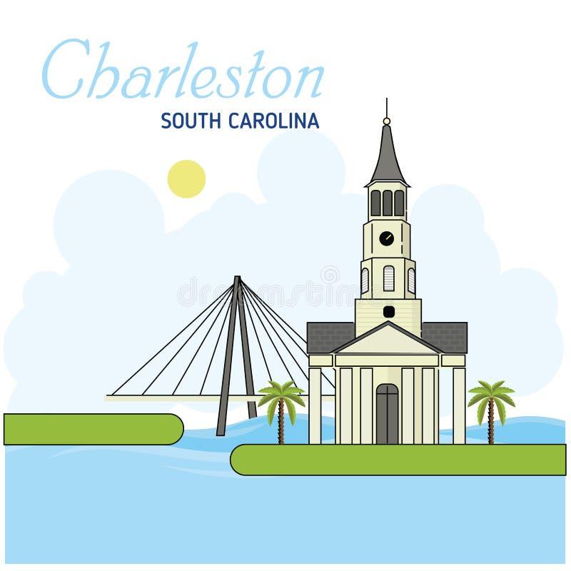 Τσάρλεστον νότος της Καρολίνας επίσης corel σύρετε το διάνυσμα απεικόνισης Επιχειρησιακό ταξίδι και έννοια τουρισμού με τα σύγχρο ελεύθερη απεικόνιση δικαιώματος