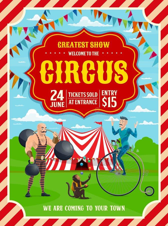 Τσίρκο ή τοπ σκηνή καρναβαλιού, ακροβάτης, ισχυρός άνδρας απεικόνιση αποθεμάτων