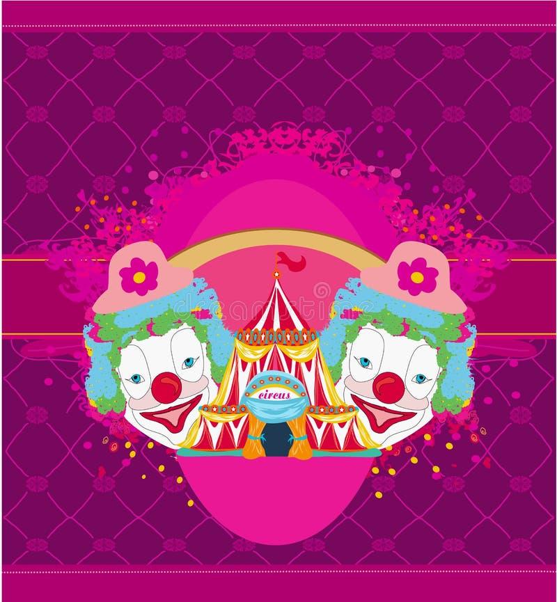 Τσίρκο και αφηρημένη αστεία κάρτα κλόουν διανυσματική απεικόνιση