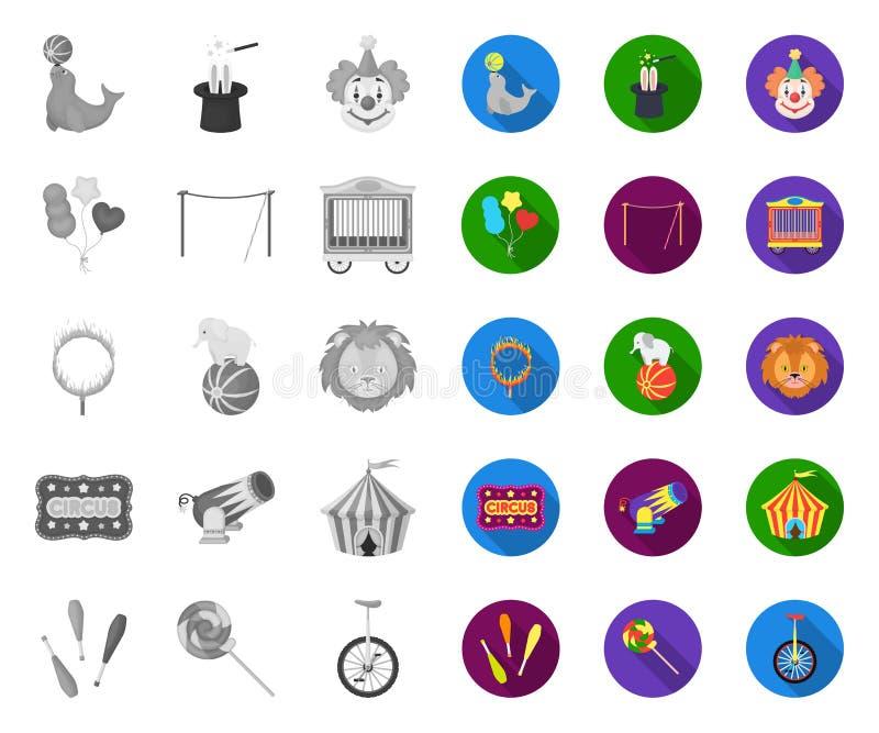 Τσίρκο και μονο, επίπεδα εικονίδια ιδιοτήτων στην καθορισμένη συλλογή για το σχέδιο r απεικόνιση αποθεμάτων