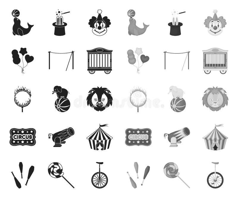 Τσίρκο και ο Μαύρος ιδιοτήτων μονο εικονίδια στην καθορισμένη συλλογή για το σχέδιο Διανυσματική απεικόνιση Ιστού αποθεμάτων συμβ διανυσματική απεικόνιση
