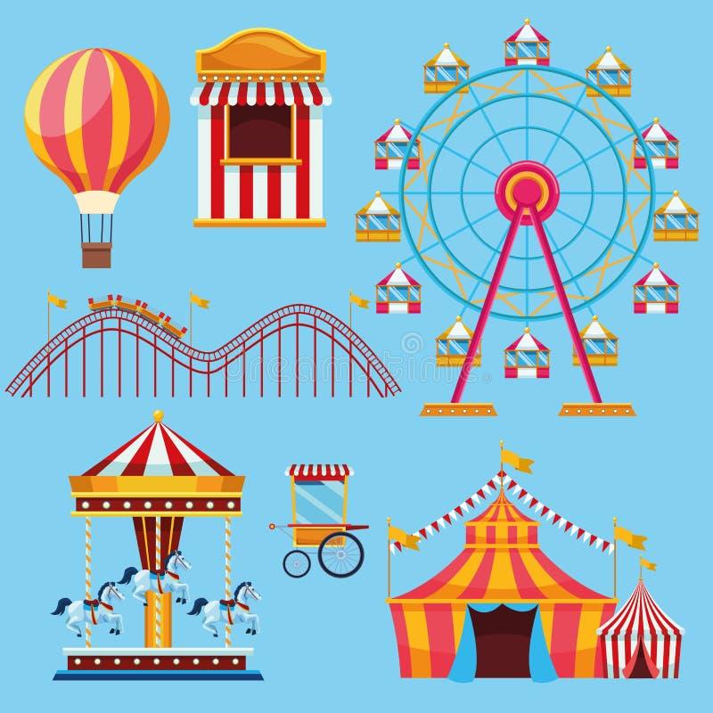 Τσίρκο και σύνολο φεστιβάλ κινούμενων σχεδίων εικονιδίων ελεύθερη απεικόνιση δικαιώματος