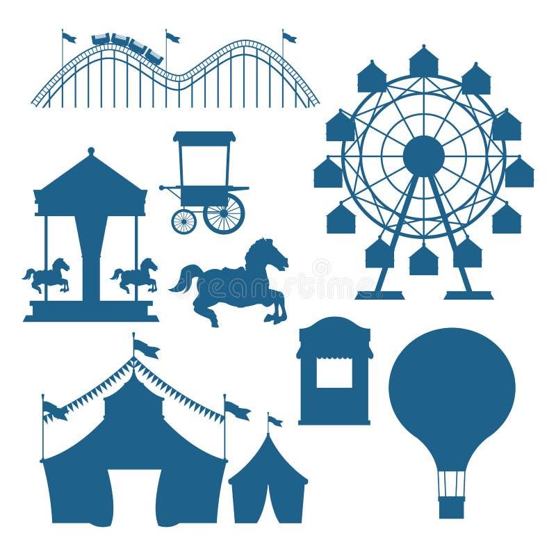 Τσίρκο και σύνολο φεστιβάλ μπλε κινούμενων σχεδίων σκιαγραφιών διανυσματική απεικόνιση