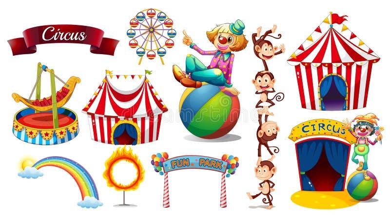 Τσίρκο που τίθεται με τα παιχνίδια και τους χαρακτήρες διανυσματική απεικόνιση