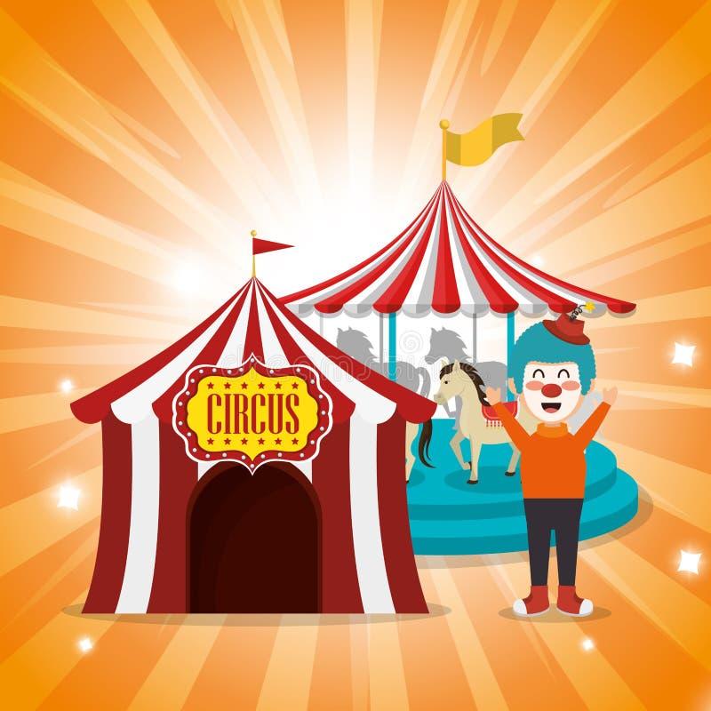 Τσίρκο σκηνών με τον κλόουν διανυσματική απεικόνιση