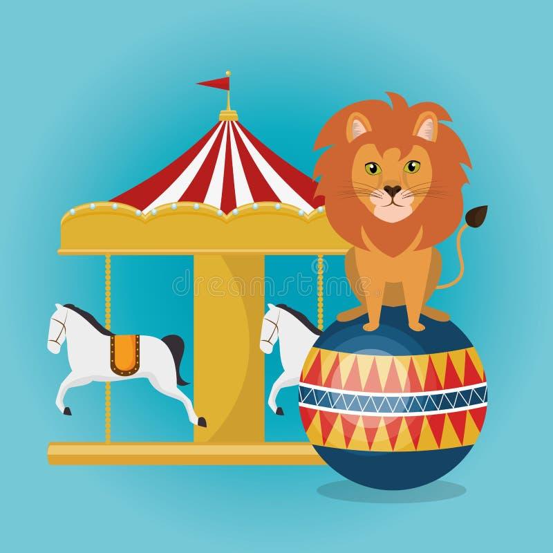 Τσίρκο crousel με το λιοντάρι απεικόνιση αποθεμάτων