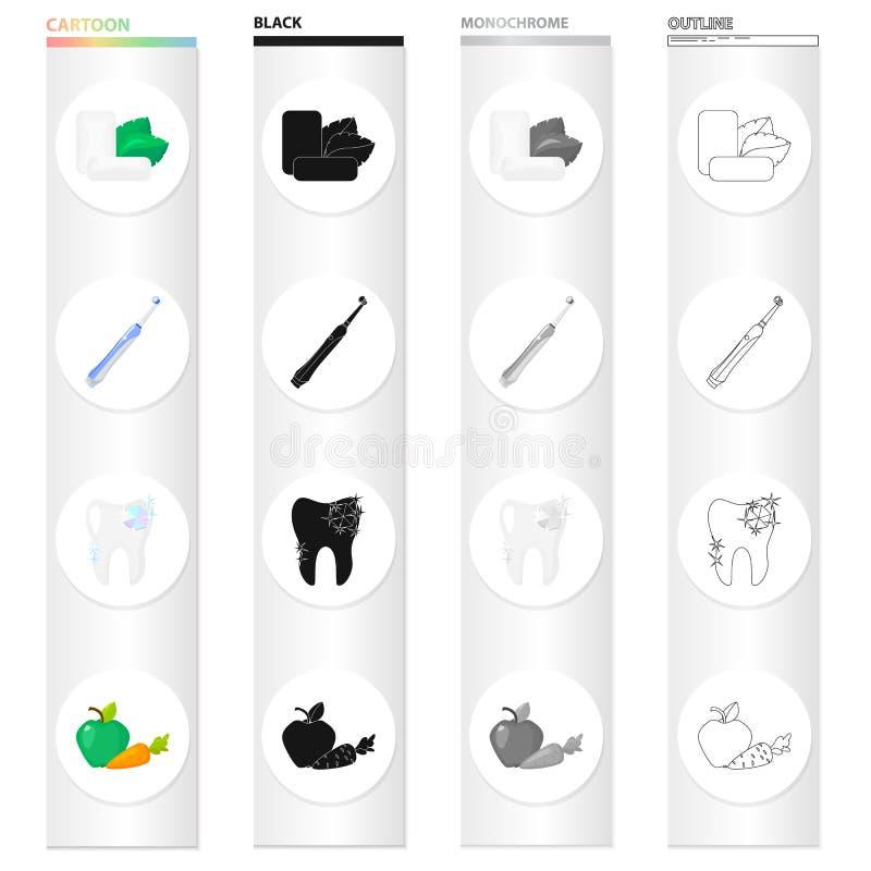 Τσίχλα μεντών, μια μηχανική οδοντόβουρτσα για την οδοντική προσοχή, ένα υγιές δόντι, υγιή λαχανικά Οδοντικό σύνολο προσοχής απεικόνιση αποθεμάτων