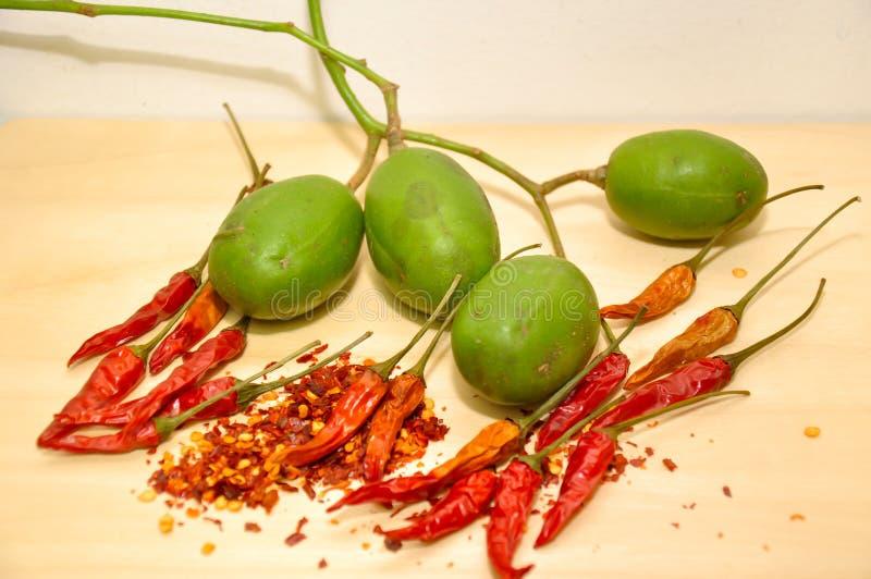 Τσίλι με τα μαλαισιανά φρούτα dulcis Spondias στοκ εικόνες