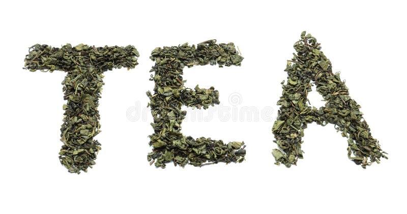 ΤΣΑΙ λέξης φιαγμένο από ξηρά φύλλα στο άσπρο υπόβαθρο στοκ εικόνα