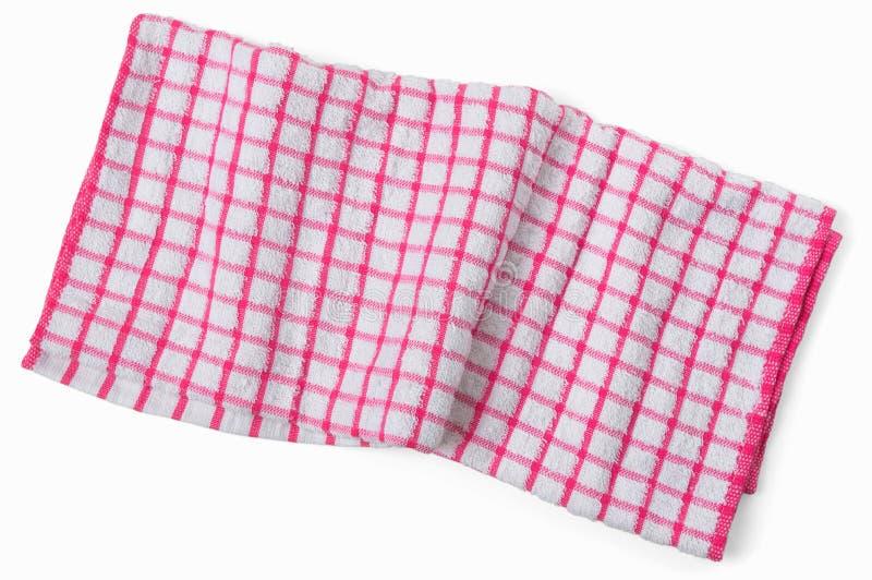 Τσαλακωμένη κόκκινη άσπρη ελεγμένη πετσέτα κουζινών Ατημέλητη πετσέτα isolat στοκ εικόνες