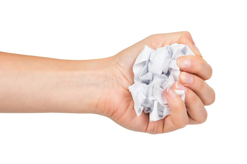 Τσαλακωμένη σφαίρα εγγράφου που απομονώνεται υπό εξέταση στο άσπρο υπόβαθρο στοκ εικόνες