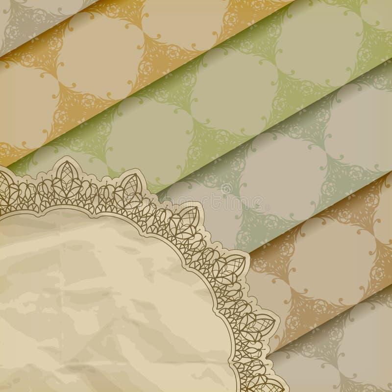 τσαλακωμένη floral σύσταση προτύπων εγγράφου διανυσματική απεικόνιση