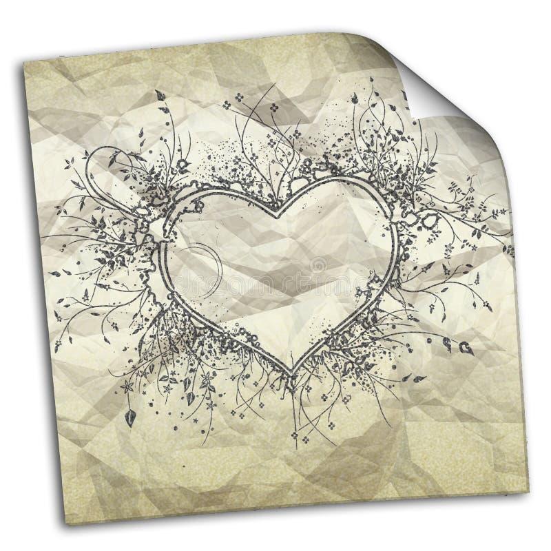 τσαλακωμένο έγγραφο με τα σχέδια των καρδιών απεικόνιση αποθεμάτων