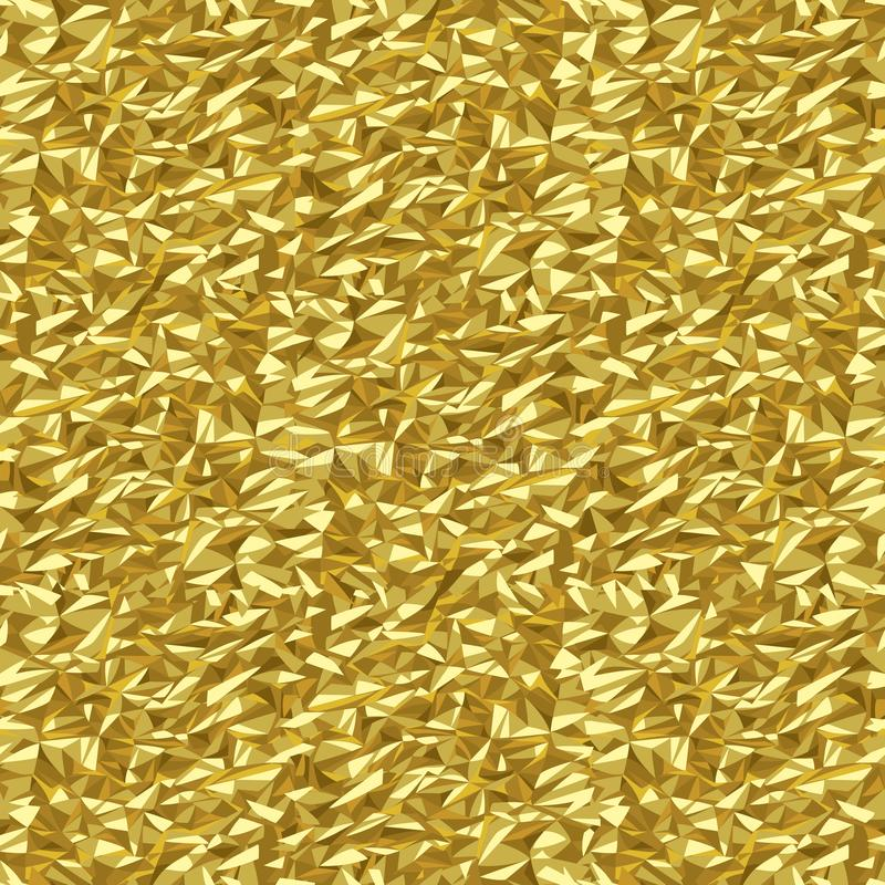Τσαλακωμένο χρυσός φύλλων αλουμινίου υπόβαθρο σχεδίων σύστασης αφηρημένο άνευ ραφής διανυσματική απεικόνιση