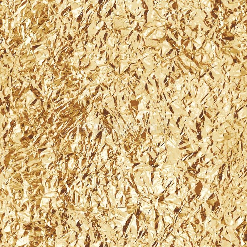 Τσαλακωμένο χρυσό φύλλο αλουμινίου άνευ ραφής σύσταση διάνυσμα διανυσματική απεικόνιση