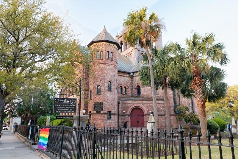 ΤΣΑΡΛΕΣΤΟΝ, SC - 5 ΑΠΡΙΛΊΟΥ 2018: Ιστορικός κυκλικός εκκλησιαστικός στοκ φωτογραφία με δικαίωμα ελεύθερης χρήσης