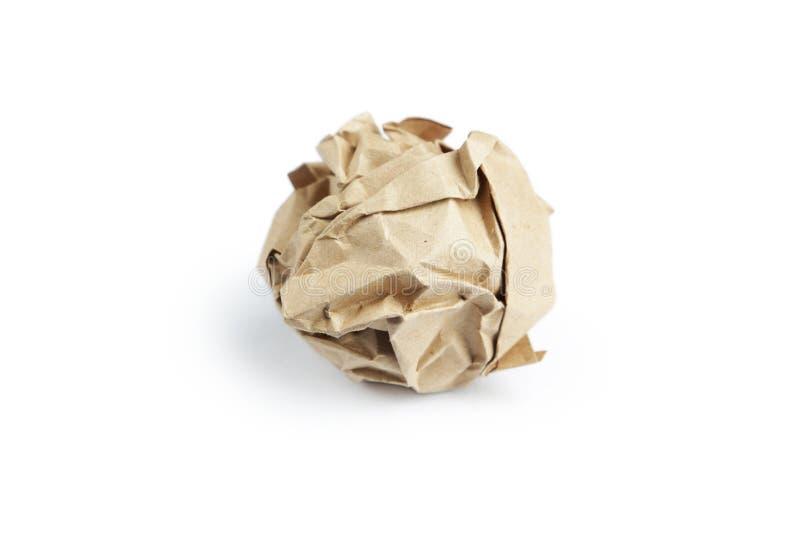 Τσαλακωμένη σφαίρα εγγράφου που απομονώνεται στο λευκό στοκ φωτογραφία με δικαίωμα ελεύθερης χρήσης