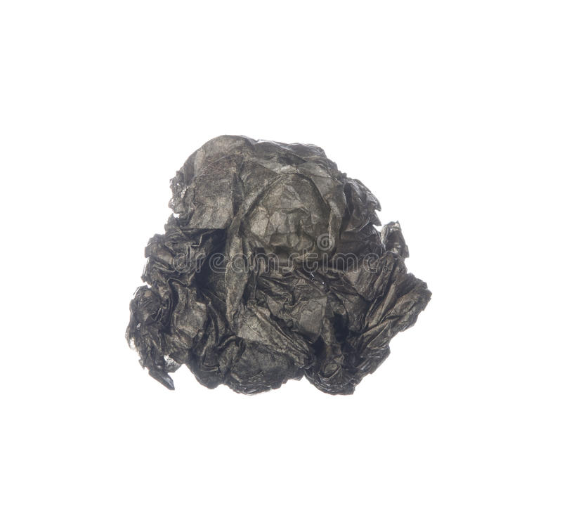 Τσαλακωμένο έγγραφο άνθρακα που απομονώνεται στο λευκό στοκ φωτογραφίες με δικαίωμα ελεύθερης χρήσης