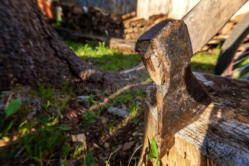 Τσεκούρι έτοιμο για την τέμνουσα ξυλεία στοκ εικόνες με δικαίωμα ελεύθερης χρήσης
