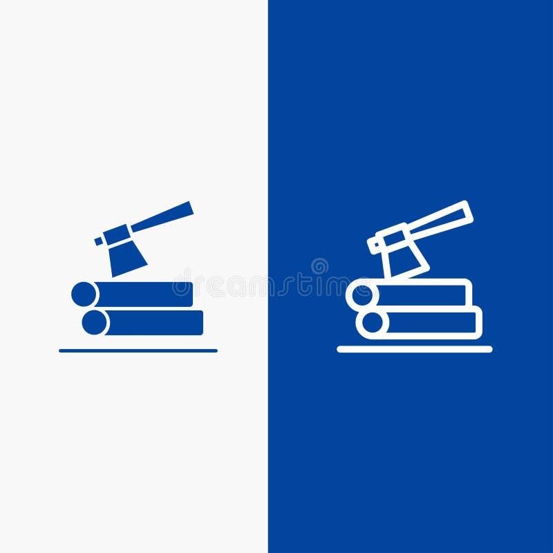 Τσεκούρι, κούτσουρο, ξυλεία, ξύλινη γραμμή και στερεά γραμμή εμβλημάτων εικονιδίων Glyph μπλε και στερεό μπλε έμβλημα εικονιδίων  απεικόνιση αποθεμάτων
