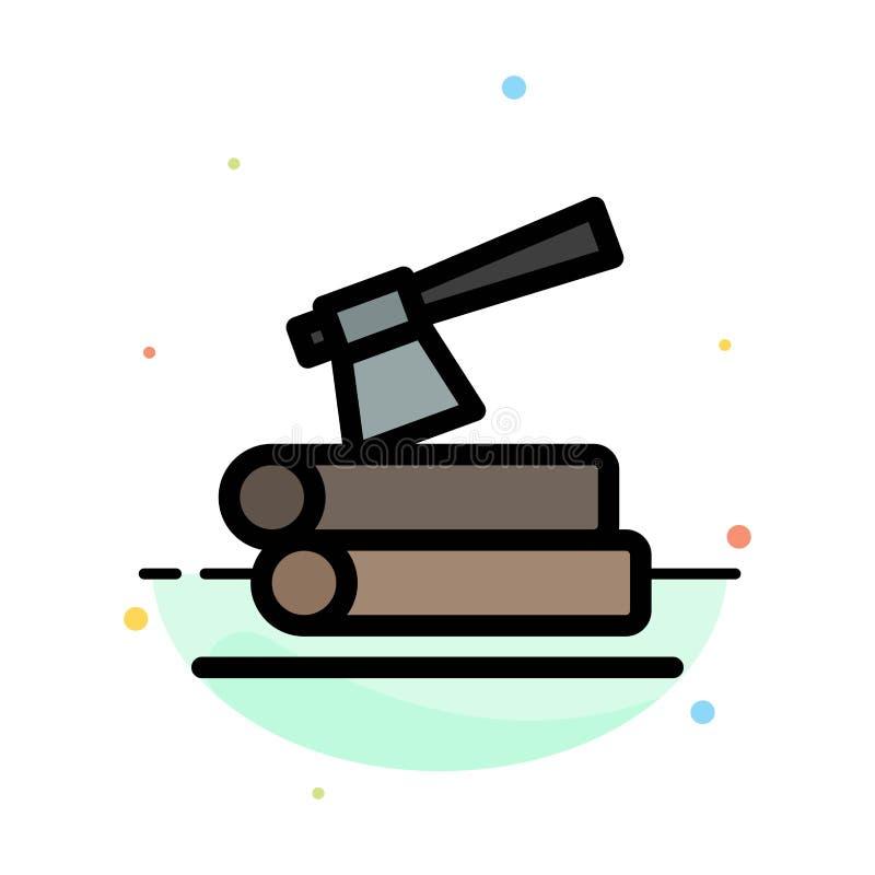 Τσεκούρι, κούτσουρο, ξυλεία, ξύλινο αφηρημένο επίπεδο πρότυπο εικονιδίων χρώματος απεικόνιση αποθεμάτων