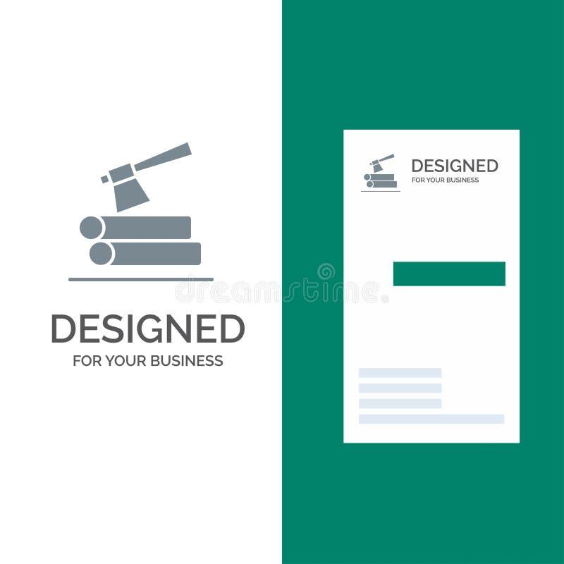Τσεκούρι, κούτσουρο, ξυλεία, ξύλινο γκρίζο σχέδιο λογότυπων και πρότυπο επαγγελματικών καρτών απεικόνιση αποθεμάτων