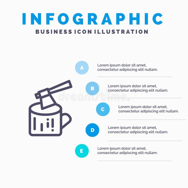 Τσεκούρι, κούτσουρο, ξυλεία, ξύλινο εικονίδιο γραμμών με το υπόβαθρο infographics παρουσίασης 5 βημάτων ελεύθερη απεικόνιση δικαιώματος